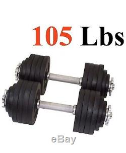 105lb total Adjustable Dumbbells Weight Set with Cast Iron Weights Unipack