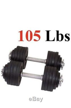 105lbs Adjustable Pair Of Cast Iron Dumbbells. Each Weighs 52.5 Lbs