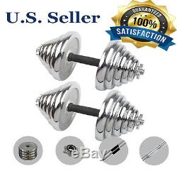 (110LB /66LB) Adjustable Weight Cast Iron Dumbbell Barbell Kit Home Workout Tool