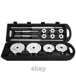 (110/66 LBS) Adjustable Weight Cast Iron Dumbbell Barbell Set Home Workout Gym