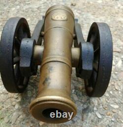 +15lbs! Vintage Brass Cast Iron Black Powder Signal Cannon Heavy 7/8 Bore