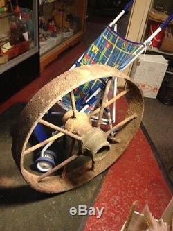 1840 VTG ANTIQUE PRIMITIVE COUNTRY FARM Cast Iron Metal Wagon WHEEL 26 70+ Lbs