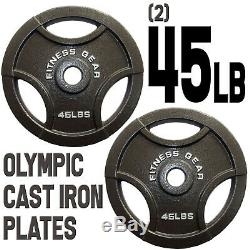 (2) 45lb 45 lbs Olympic 2 Dia Barbell Cast Iron Plates Weights Fitness Gear 45