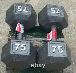 2 NEW Weider Cast Iron Hex 75 lb Dumbbell Set Knurled Grip 150 lbs
