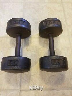 2 York Barbell 30 Lb Roundhead Dumbbells Vintage USA Stamp Pair Free Weights