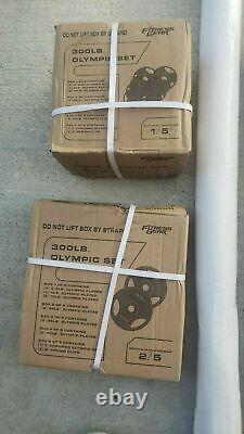 300 lb Olympic Weight Set with Barbell & Collars IN HAND SHIPS NOW