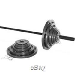 300 lbs CAST IRON OLYMPIC WEIGHT SET 7 ft Bar Grip Plates Lifting Collars Gym