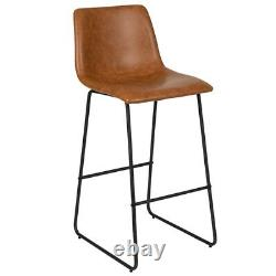30 inch Leather Soft Bar Height Barstools in Light Brown, Set of 2