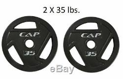 35 LB Weight Plates PAIR CAP OLYMPIC NEW 2 inch TOTAL 70 LBS
