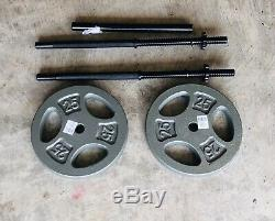 3-Piece Straight 5' Barbell with (2) 25 lb Weight Plates 1 Bench Combo Set
