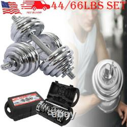 44/66LBS Weight Steel Dumbbell Set Dumbbell Set Adjustable Gym Barbell Plates