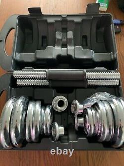 44lb Dumbbell Set Adjustable Dumbbells Chrome weights cap 552 20kg NEW Weight