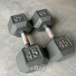 45 lb CAP Cast-Iron Hex-Style Dumbbell Pair! Set of Two Dumbells Dumb Bell