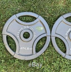 45 lb Olympic 2 Weight Plates Pair (2x 45LB) Fitness Gear FREE Shipping