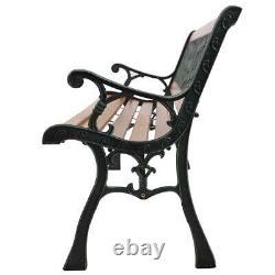 49 Patio Porch Garden Bench Cast Iron Outdoor Chair Love Seat Weave Style 330lb