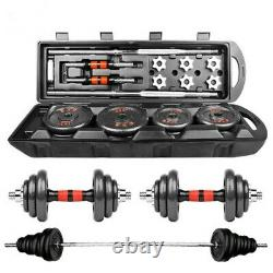 50KG/110LB Adjustable Weight Cast Iron Dumbbell Barbell Kit Home Workout Tools A