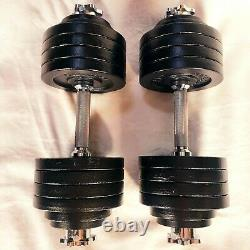 52.5 LB dumbbell weights PAIR, adjustable set 105 lbs total yes4all like bowflex