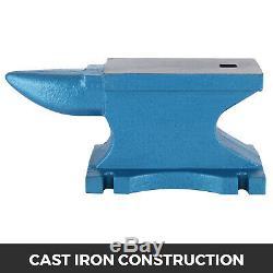 55 LB Iron Anvil Blacksmith Cast Iron Long Round Horn Metal Forging Hardy Hole