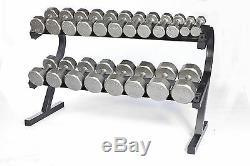 5 50 lbs Dumbbell Set w Shelf Rack VTX 12 sided Cast Iron New Gray Dumbells