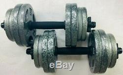 60 lb Adjustable Cast Dumbbell Weight Set 30lb Ea. 5lb 10lb 15lb 20lb 25lb