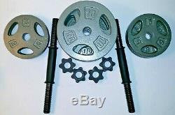 60 lb Adjustable Cast Dumbbell Weight Set CAP FAST SHIPPING