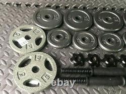 60lb Adjustable Dumbbell Weight Set Cast Iron Plates CAP Steel Handles SHIP FAST