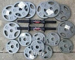 60lbs + Adjustable Dumbbell Weight Set. Cast Iron Plates. Steel CAP HD Handles