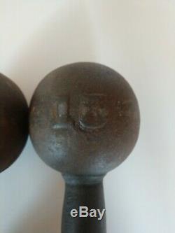 AWESOME Antique Vintage Set of 15lb Embossed Globe CAST IRON DUMBELLS