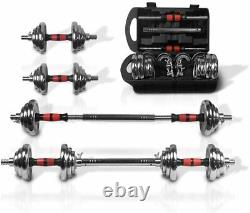 Adjustable 44 LB Weight Dumbbell Set Cap Gym Barbell Plates Body Workout Fitness