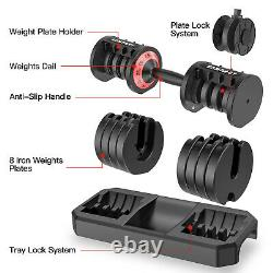 Adjustable Dumbbell 6.5-44 lbs Home Fitness Dumbbell with Anti-Slip Handle