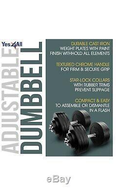 Adjustable Dumbbell Weight Set Cast Iron 200lb BEST DEAL