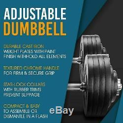 Adjustable Dumbbell Weight Set Cast Iron 200lb Workout