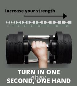 Adjustable Dumbbell Weights (4.4-70.5 lb / 2-32 kg) Single Sync Set Gym NEW