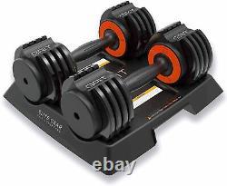 Adjustable Dumbbells Set 2.5-12.5 Lbs Fast Adjusting Dial Weights (Pair)