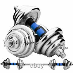 Adjustable Weight Cast Iron Dumbbell Barbell Kit Home Workout Tool 44 LB