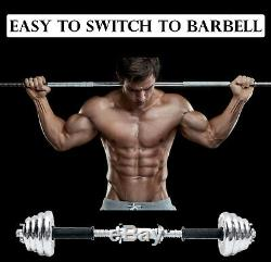 Adjustable Weight To 110lbs Cast Iron Dumbbell Barbell Set Home Gym Work Out