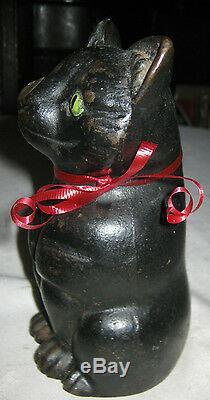 Antique Black Fat Cat Statue Doorstop Cast Iron Home Office Sculpture 7 Lbs