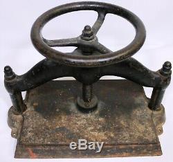 Antique Cast Iron Book Press Binding Hand Wheel Binder 78 LBS! 15 X 10.5