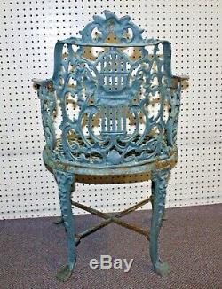 Antique Cast Iron GARDEN ARM CHAIR. Roses + Foliate. 32H x20.5W x24D. 65 lbs
