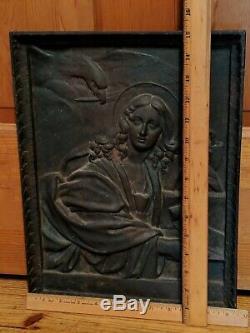 Antique Cast Iron Tile Woman Eagle/Hawk Snake Fireplace Fire Back Mythical 13 lb