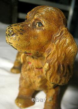 Antique Hubley Solid Cast Iron Tan Cocker Spaniel Dog Statue Door Doorstop 5 Lb