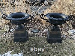 Antique Pair Cast Iron Urns Planters with Handles (122.5 lbs. Each)+ on Risers