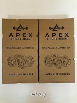 Apex Life Fitness Hammertone Cast Iron 100 LB Adjustable Dumbbell Set USA SHIP