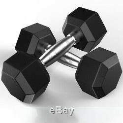 Barbell Set of 2 Hex Rubber Dumbbell with Metal Handles, Heavy Dumbbells 5-50LBS