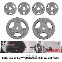 CAP Combo Curl Bar + 2 x 25 lb 4 x 2.5 lb Weight Plates With Lock Collars 61.5 lb