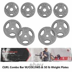 CAP Combo Curl Weightlifting Bar With Collars + 50 lb of Weight Plates 61.5 lb TTL