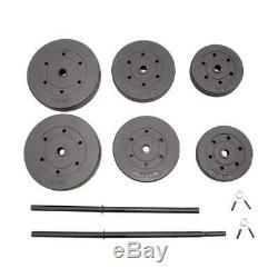 CAP Vinyl Adjustable 100LB Barbell Set 5' Bar & Plates Weight Lifting Home Gym