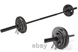 Cap Olympic Barbell 30lb Steel Bar 7FT + clips Fits 2 Weight Plates