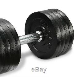 Cast Iron Adjustable Dumbbells Set 105 lbs Hand Weight Cap Gym Plate