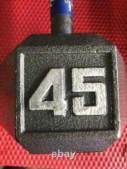 Cast Iron Hex Dumbbell Single 45 lb Pound